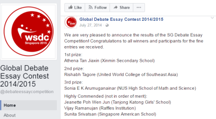 Global Debate Essay Competition Results Release